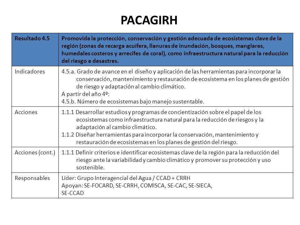 PACAGIRH Resultado 4.5Promovida la protección, conservación y gestión adecuada de ecosistemas clave de la región (zonas de recarga acuífera, llanuras