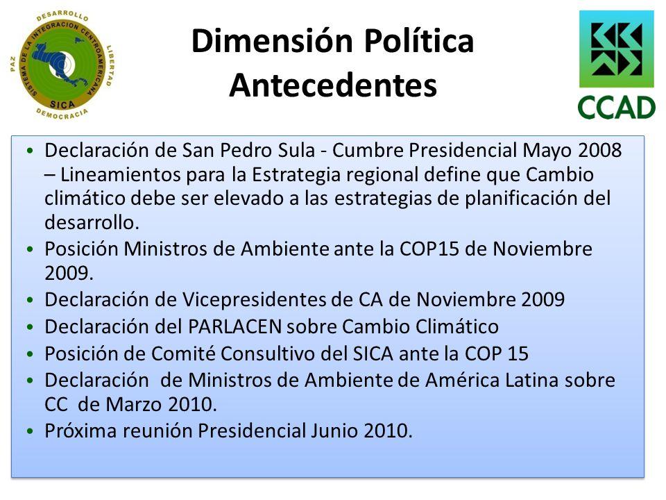Dimensión Política Antecedentes Declaración de San Pedro Sula - Cumbre Presidencial Mayo 2008 – Lineamientos para la Estrategia regional define que Ca