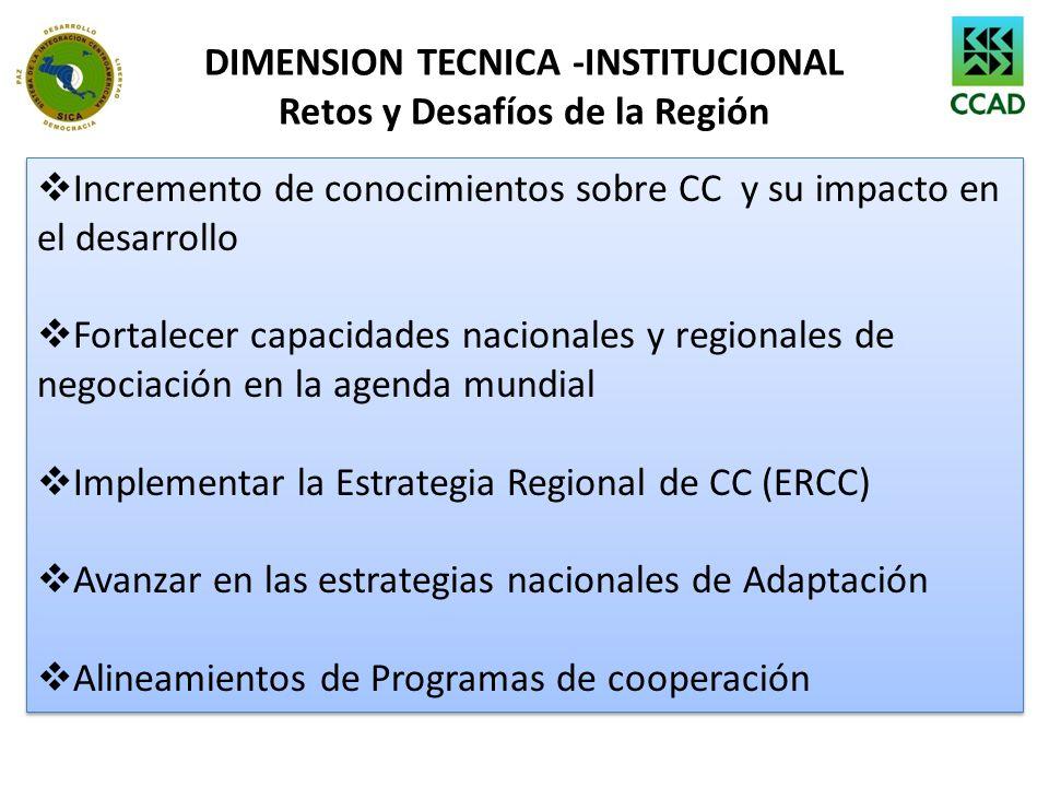 DIMENSION TECNICA -INSTITUCIONAL Retos y Desafíos de la Región Incremento de conocimientos sobre CC y su impacto en el desarrollo Fortalecer capacidad