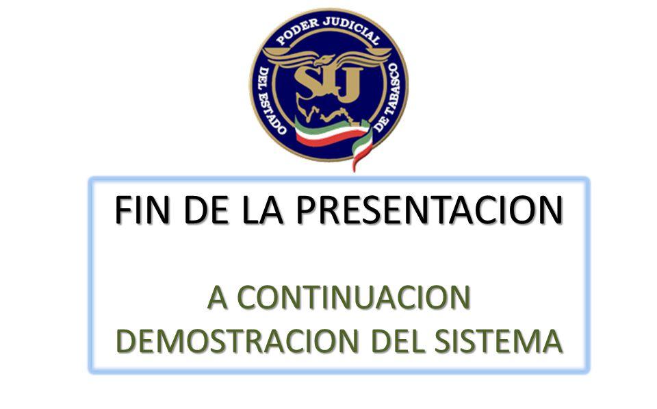FIN DE LA PRESENTACION A CONTINUACION DEMOSTRACION DEL SISTEMA