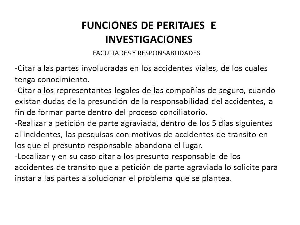 FUNCIONES DE PERITAJES E INVESTIGACIONES -Citar a las partes involucradas en los accidentes viales, de los cuales tenga conocimiento.