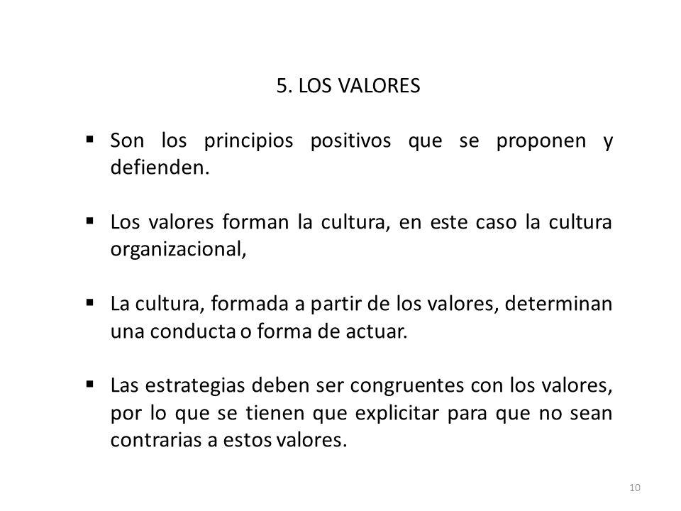 10 5. LOS VALORES Son los principios positivos que se proponen y defienden. Los valores forman la cultura, en este caso la cultura organizacional, La