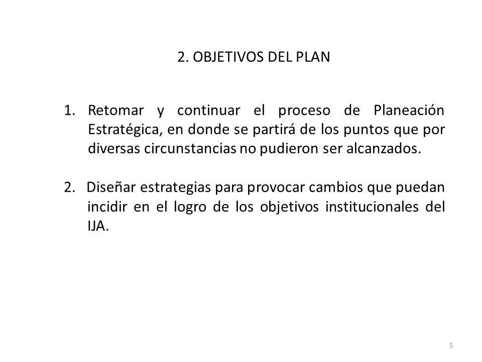 2. OBJETIVOS DEL PLAN 1.Retomar y continuar el proceso de Planeación Estratégica, en donde se partirá de los puntos que por diversas circunstancias no
