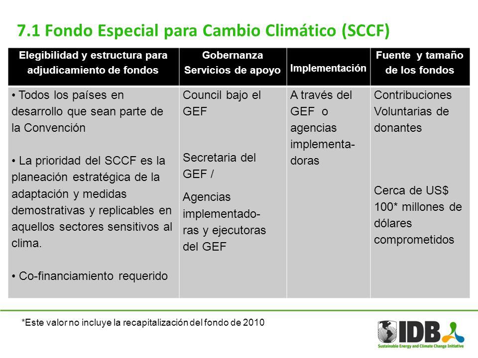 7.1 Fondo Especial para Cambio Climático (SCCF) Elegibilidad y estructura para adjudicamiento de fondos Gobernanza Servicios de apoyo Implementación F