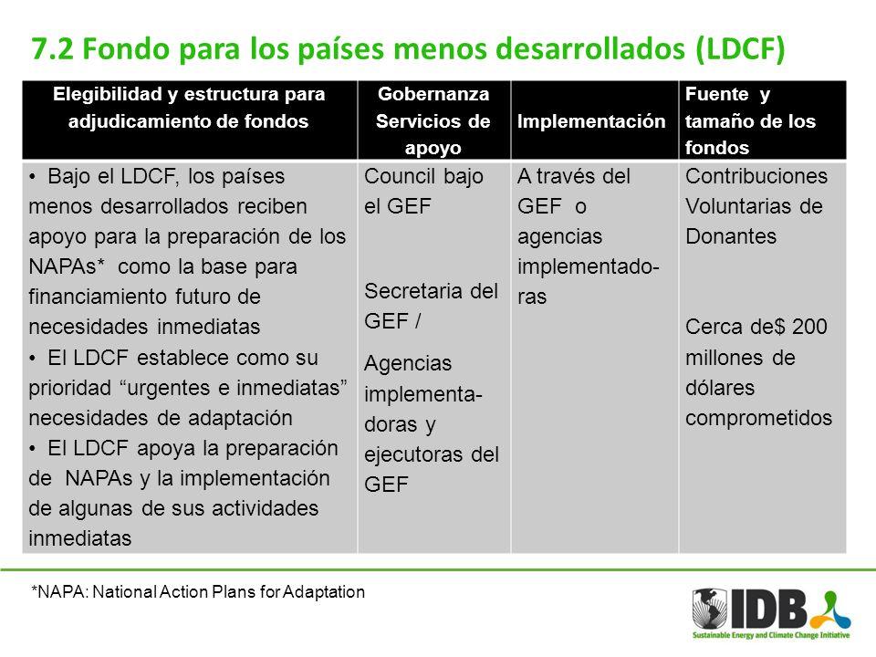 7.2 Fondo para los países menos desarrollados (LDCF) Elegibilidad y estructura para adjudicamiento de fondos Gobernanza Servicios de apoyo Implementac