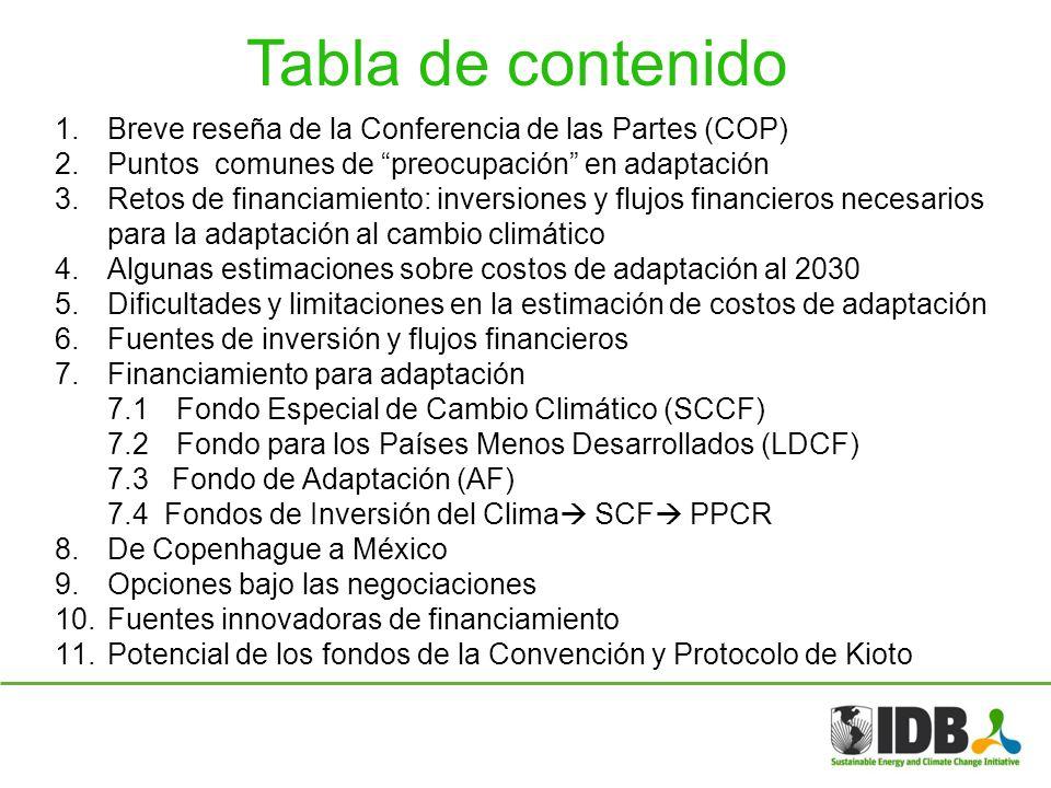 Tabla de contenido 1.Breve reseña de la Conferencia de las Partes (COP) 2.Puntos comunes de preocupación en adaptación 3.Retos de financiamiento: inve