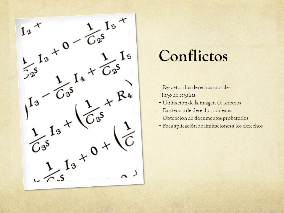 Conflictos + Respeto a los derechos morales +Pago de regalías + Utilización de la imagen de terceros + Existencia de derechos conexos + Obtención de d