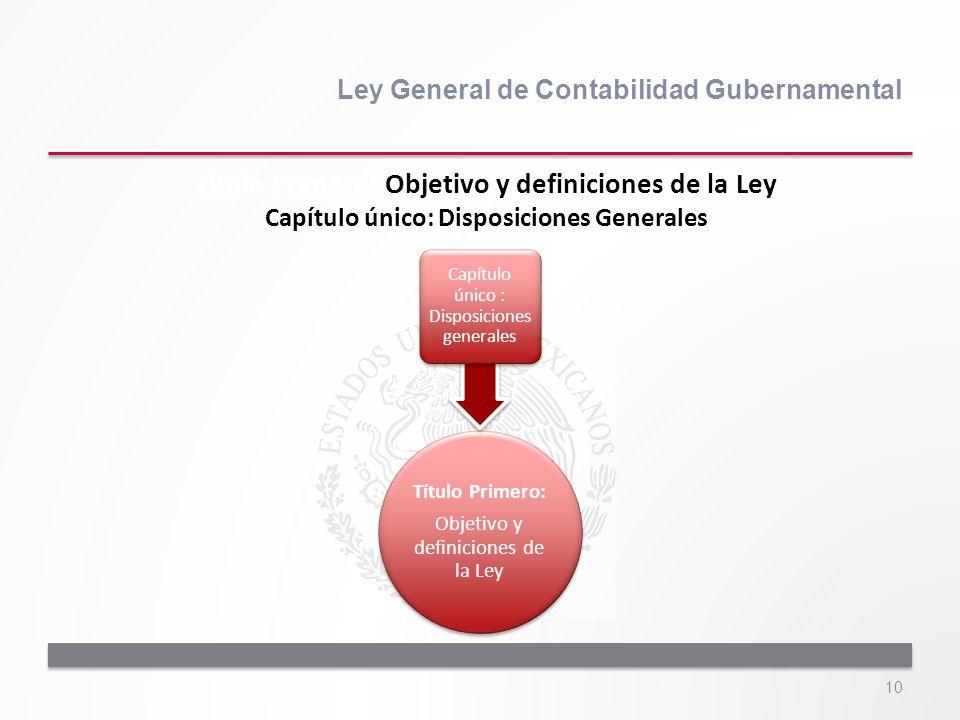 10 Ley General de Contabilidad Gubernamental Título Primero: Objetivo y definiciones de la Ley Capítulo único : Disposiciones generales Título Primero
