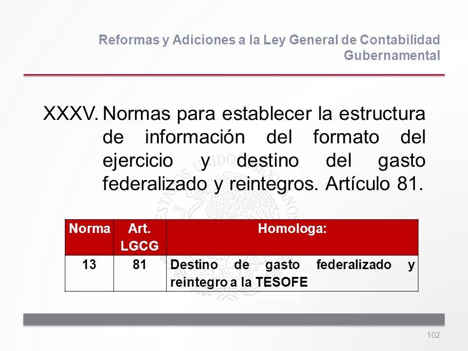 102 XXXV.Normas para establecer la estructura de información del formato del ejercicio y destino del gasto federalizado y reintegros. Artículo 81. Ref