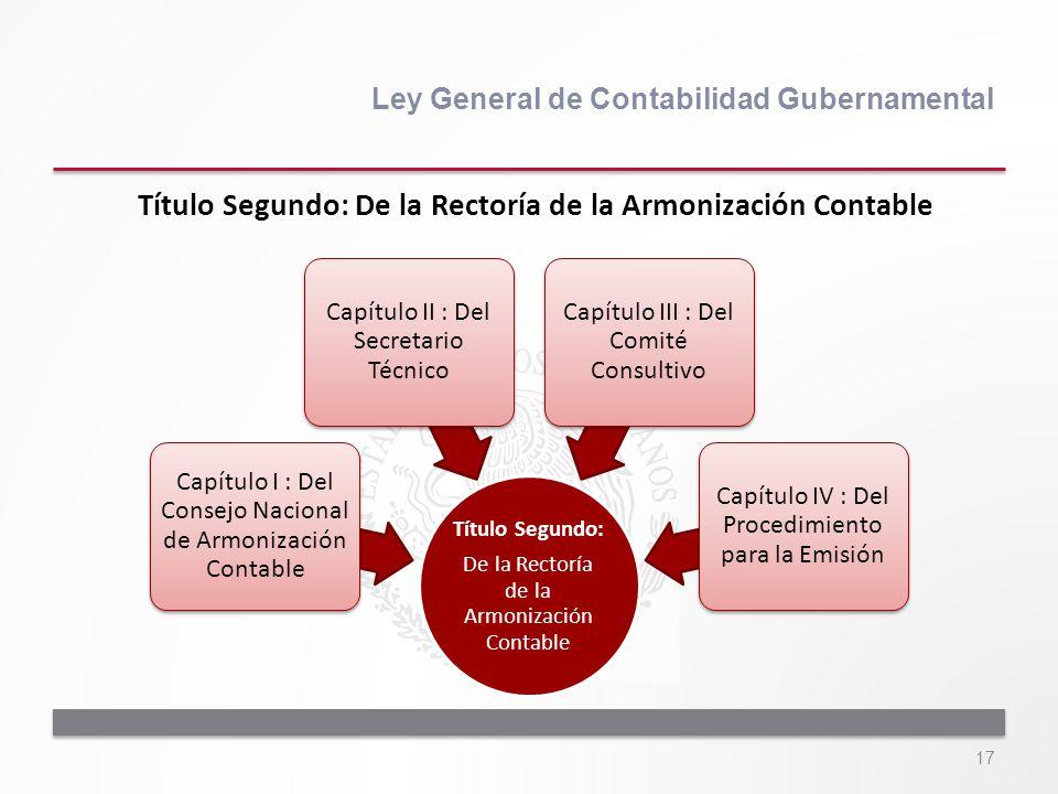 17 Ley General de Contabilidad Gubernamental Título Segundo: De la Rectoría de la Armonización Contable Capítulo I : Del Consejo Nacional de Armonizac