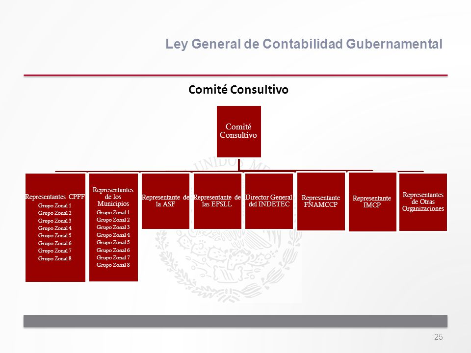 25 Ley General de Contabilidad Gubernamental Comité Consultivo Representantes CPFF Grupo Zonal 1 Grupo Zonal 2 Grupo Zonal 3 Grupo Zonal 4 Grupo Zonal
