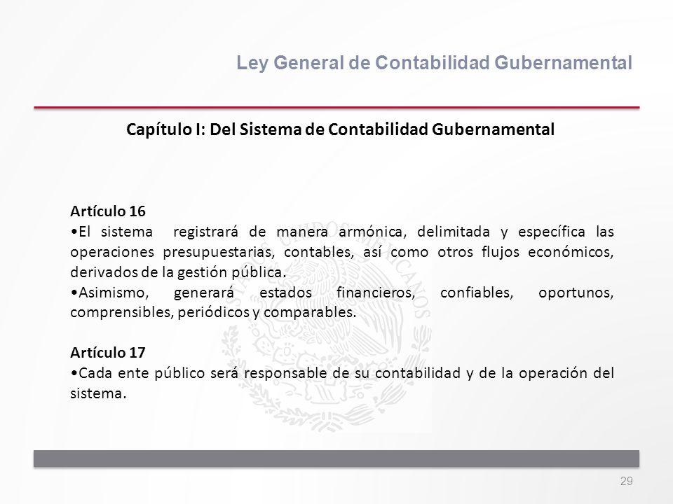 29 Ley General de Contabilidad Gubernamental Artículo 16 El sistema registrará de manera armónica, delimitada y específica las operaciones presupuesta