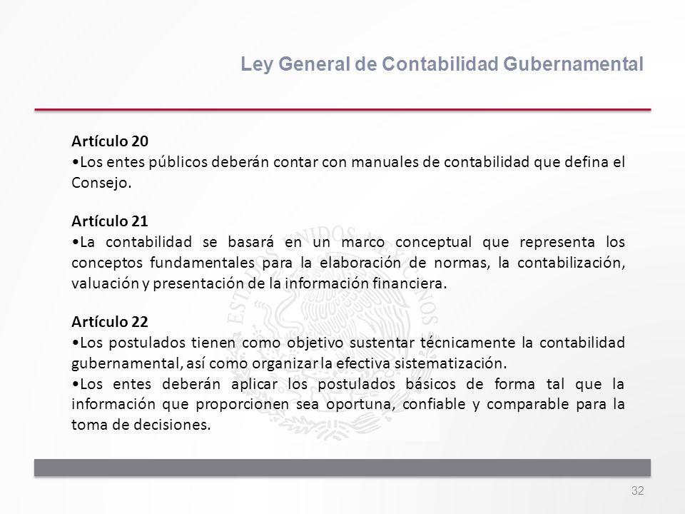 32 Ley General de Contabilidad Gubernamental Artículo 20 Los entes públicos deberán contar con manuales de contabilidad que defina el Consejo. Artícul