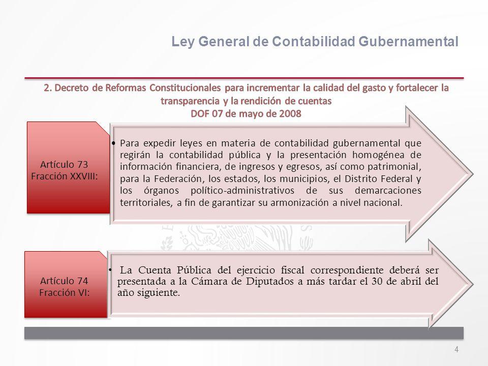 4 Ley General de Contabilidad Gubernamental Para expedir leyes en materia de contabilidad gubernamental que regirán la contabilidad pública y la prese