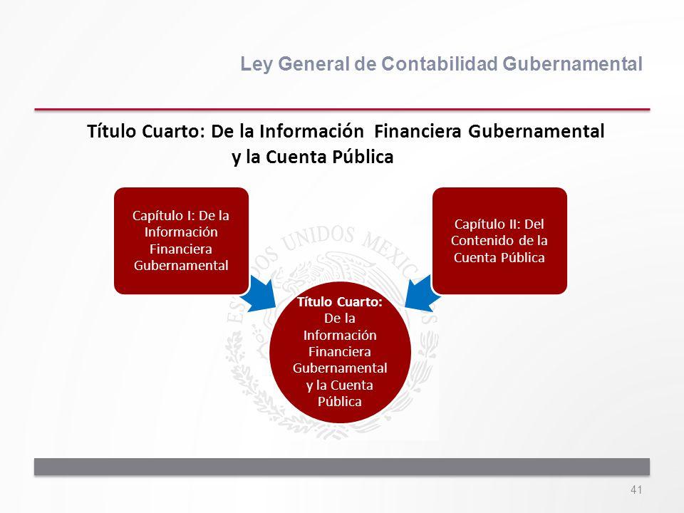 41 Ley General de Contabilidad Gubernamental Título Cuarto: De la Información Financiera Gubernamental y la Cuenta Pública Título Cuarto: De la Inform