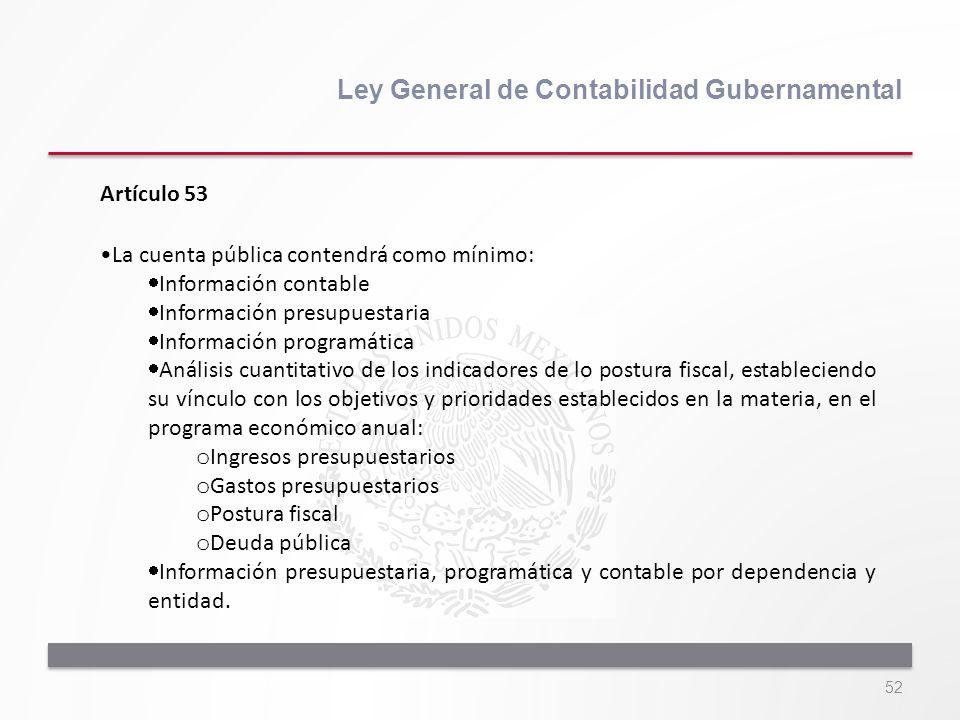 52 Ley General de Contabilidad Gubernamental Artículo 53 La cuenta pública contendrá como mínimo: Información contable Información presupuestaria Info