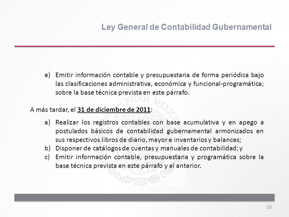 59 Ley General de Contabilidad Gubernamental e)Emitir información contable y presupuestaria de forma periódica bajo las clasificaciones administrativa