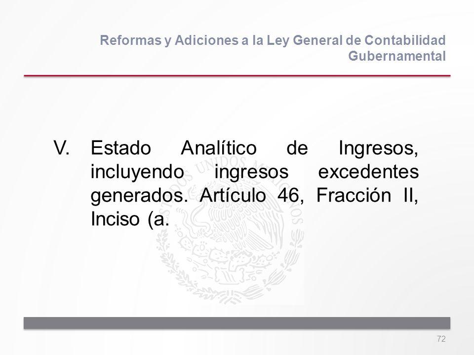 72 V.Estado Analítico de Ingresos, incluyendo ingresos excedentes generados. Artículo 46, Fracción II, Inciso (a. Reformas y Adiciones a la Ley Genera