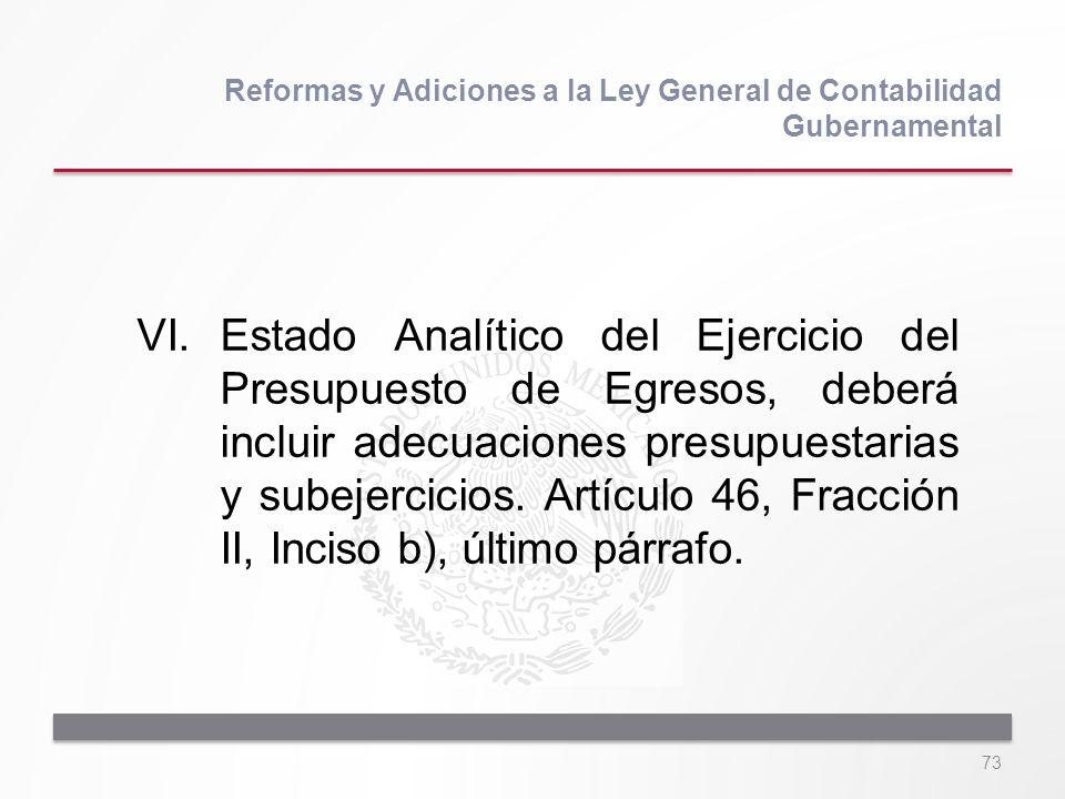73 VI.Estado Analítico del Ejercicio del Presupuesto de Egresos, deberá incluir adecuaciones presupuestarias y subejercicios. Artículo 46, Fracción II