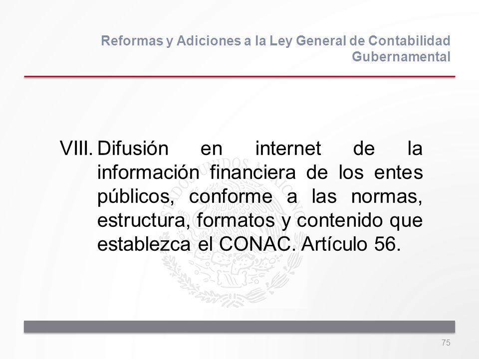 75 VIII.Difusión en internet de la información financiera de los entes públicos, conforme a las normas, estructura, formatos y contenido que establezc
