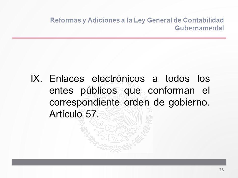 76 IX.Enlaces electrónicos a todos los entes públicos que conforman el correspondiente orden de gobierno. Artículo 57. Reformas y Adiciones a la Ley G