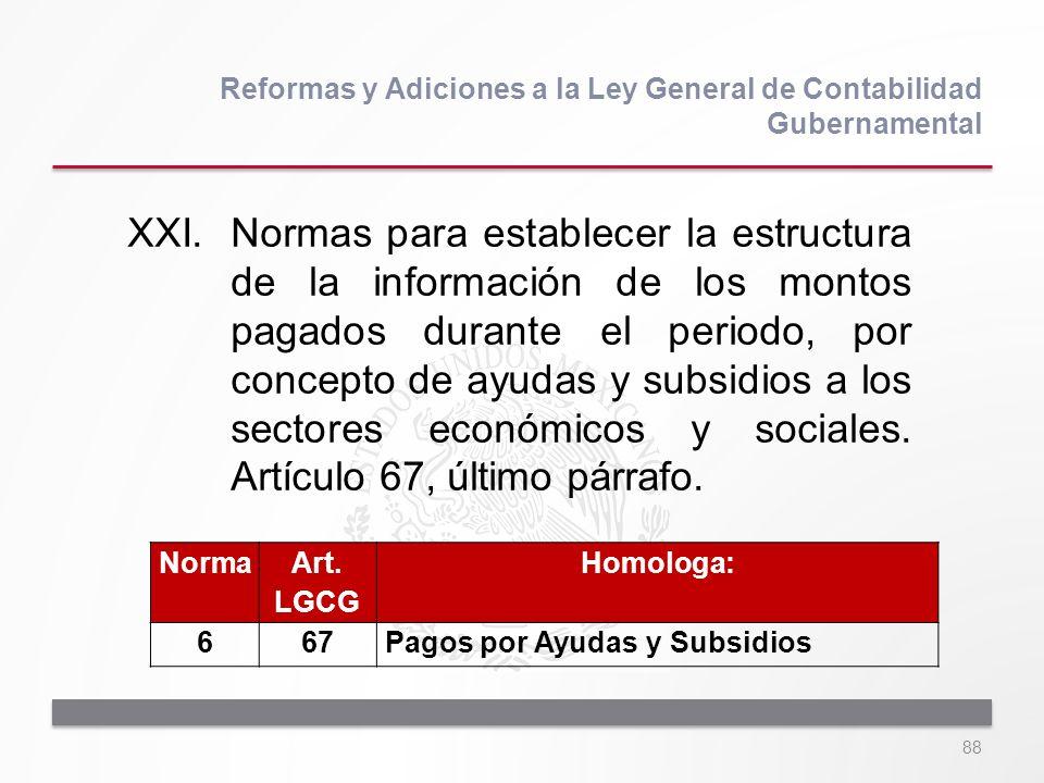 88 XXI.Normas para establecer la estructura de la información de los montos pagados durante el periodo, por concepto de ayudas y subsidios a los secto