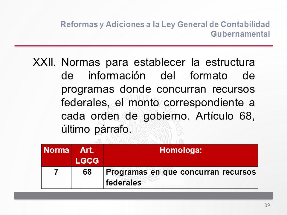 89 XXII.Normas para establecer la estructura de información del formato de programas donde concurran recursos federales, el monto correspondiente a ca