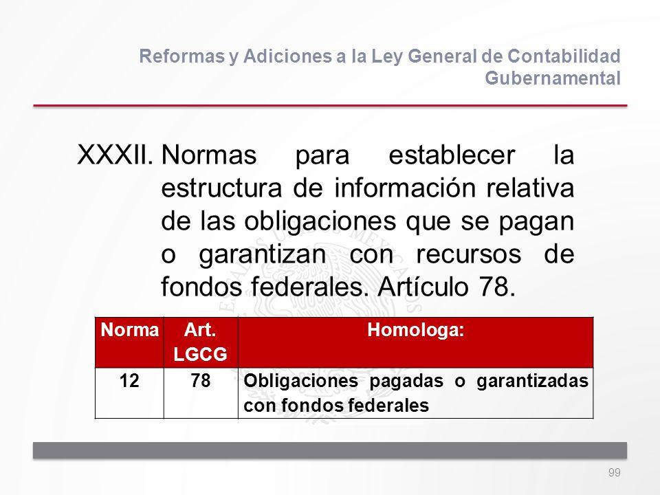 99 XXXII.Normas para establecer la estructura de información relativa de las obligaciones que se pagan o garantizan con recursos de fondos federales.