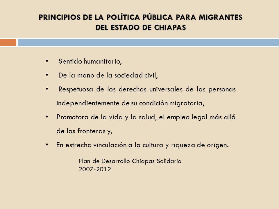 PRINCIPIOS DE LA POLÍTICA PÚBLICA PARA MIGRANTES DEL ESTADO DE CHIAPAS Sentido humanitario, De la mano de la sociedad civil, Respetuosa de los derecho