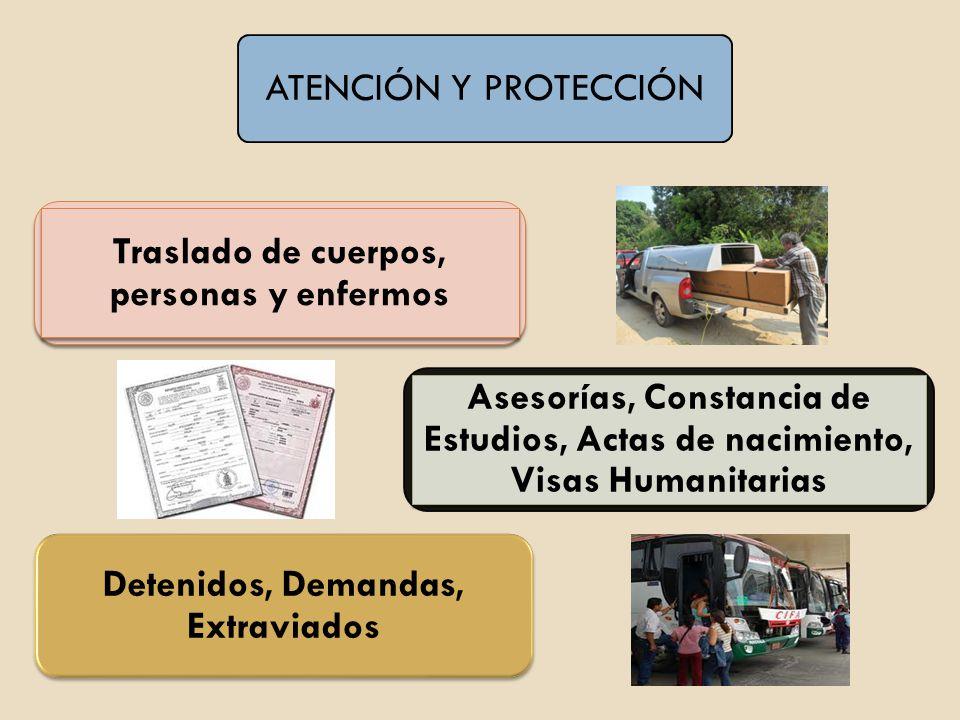 ATENCIÓN Y PROTECCIÓN Traslado de cuerpos, personas y enfermos Asesorías, Constancia de Estudios, Actas de nacimiento, Visas Humanitarias Detenidos, D