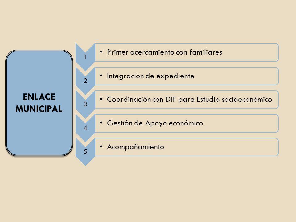 ENLACE MUNICIPAL 1 Primer acercamiento con familiares 2 Integración de expediente 3 Coordinación con DIF para Estudio socioeconómico 4 Gestión de Apoy