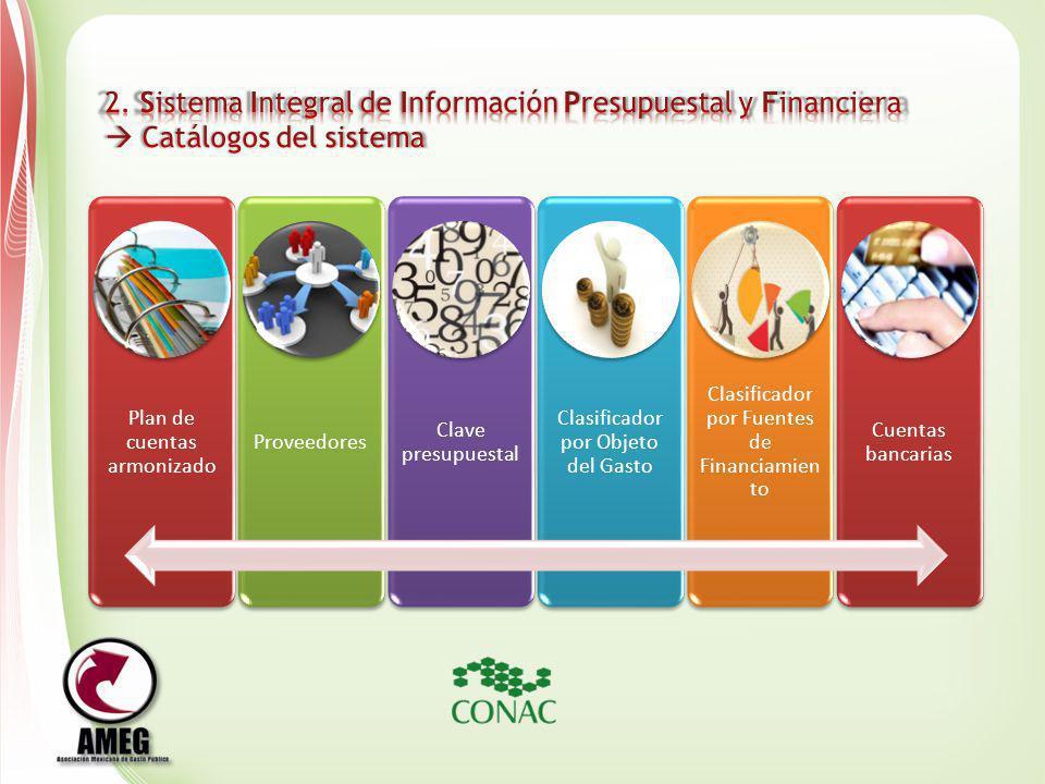 Plan de cuentas armonizado Proveedores Clave presupuestal Clasificador por Objeto del Gasto Clasificador por Fuentes de Financiamien to Cuentas bancar