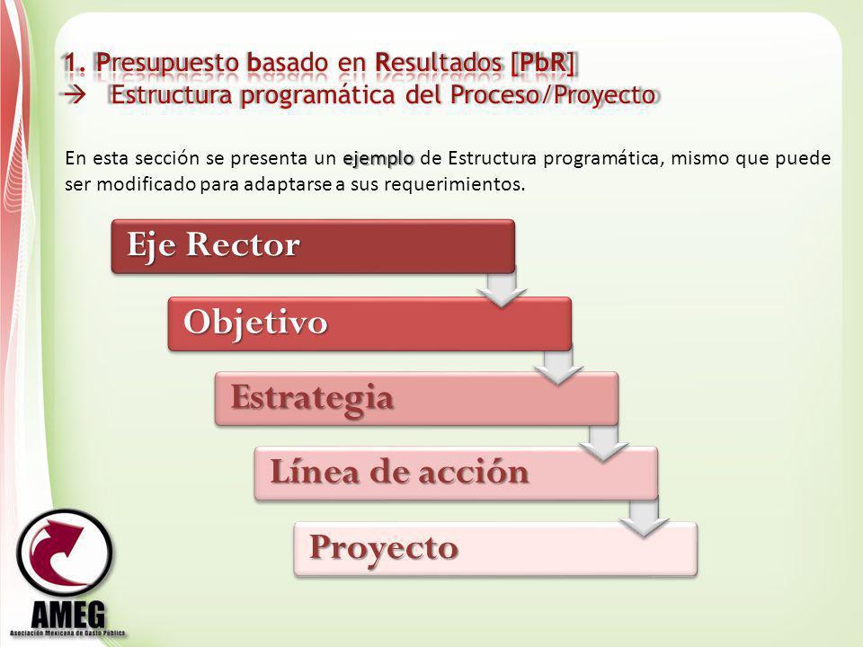 Proyecto Línea de acción Estrategia Objetivo ejemplo En esta sección se presenta un ejemplo de Estructura programática, mismo que puede ser modificado