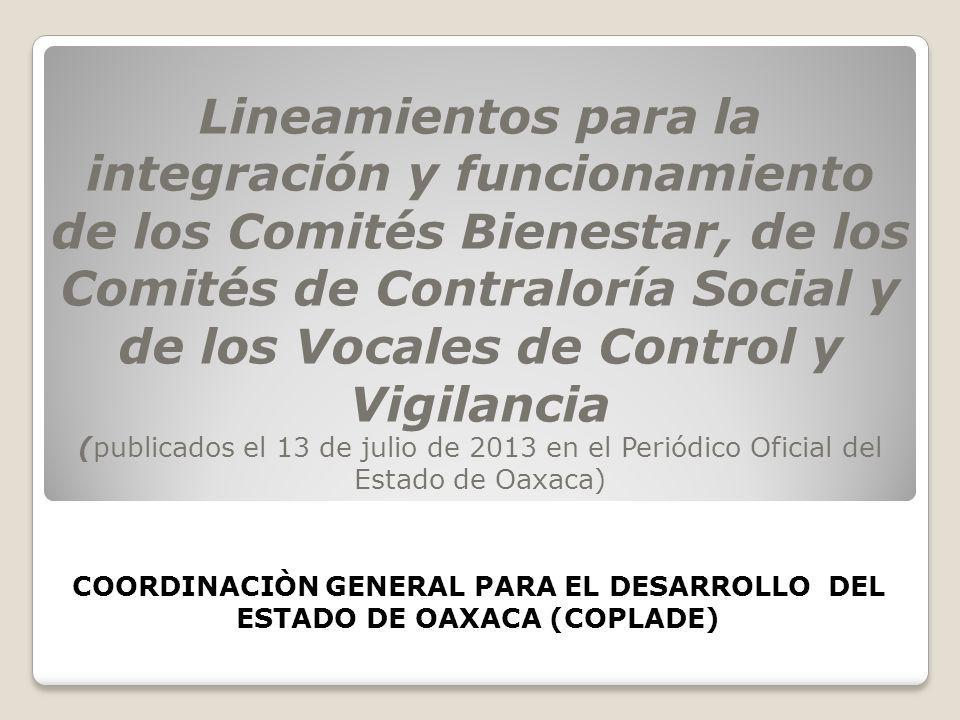 Lineamientos para la integración y funcionamiento de los Comités Bienestar, de los Comités de Contraloría Social y de los Vocales de Control y Vigilan