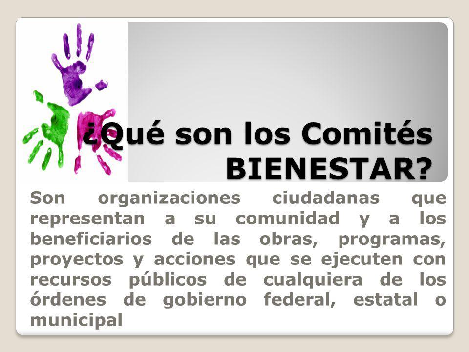 ¿Qué son los Comités BIENESTAR? Son organizaciones ciudadanas que representan a su comunidad y a los beneficiarios de las obras, programas, proyectos
