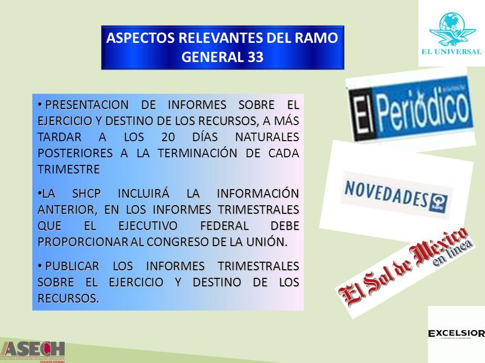 PRESENTACION DE INFORMES SOBRE EL EJERCICIO Y DESTINO DE LOS RECURSOS, PRESENTACION DE INFORMES SOBRE EL EJERCICIO Y DESTINO DE LOS RECURSOS, A MÁS TARDAR A LOS 20 DÍAS NATURALES POSTERIORES A LA TERMINACIÓN DE CADA TRIMESTRE LA SHCP INCLUIRÁ LA INFORMACIÓN ANTERIOR, EN LOS INFORMES TRIMESTRALES QUE EL EJECUTIVO FEDERAL DEBE PROPORCIONAR AL CONGRESO DE LA UNIÓN.