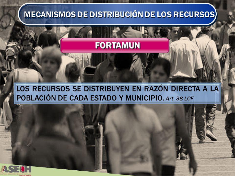 MECANISMOS DE DISTRIBUCIÓN DE LOS RECURSOS FORTAMUNFORTAMUN LOS RECURSOS SE DISTRIBUYEN EN RAZÓN DIRECTA A LA POBLACIÓN DE CADA ESTADO Y MUNICIPIO.
