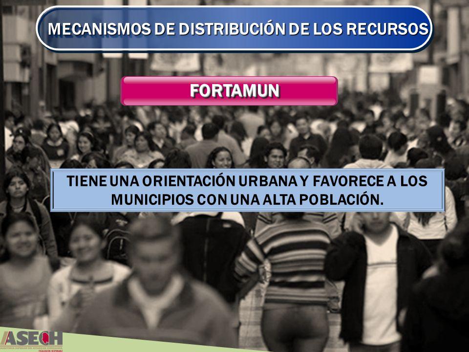 MECANISMOS DE DISTRIBUCIÓN DE LOS RECURSOS FORTAMUNFORTAMUN TIENE UNA ORIENTACIÓN URBANA Y FAVORECE A LOS MUNICIPIOS CON UNA ALTA POBLACIÓN.