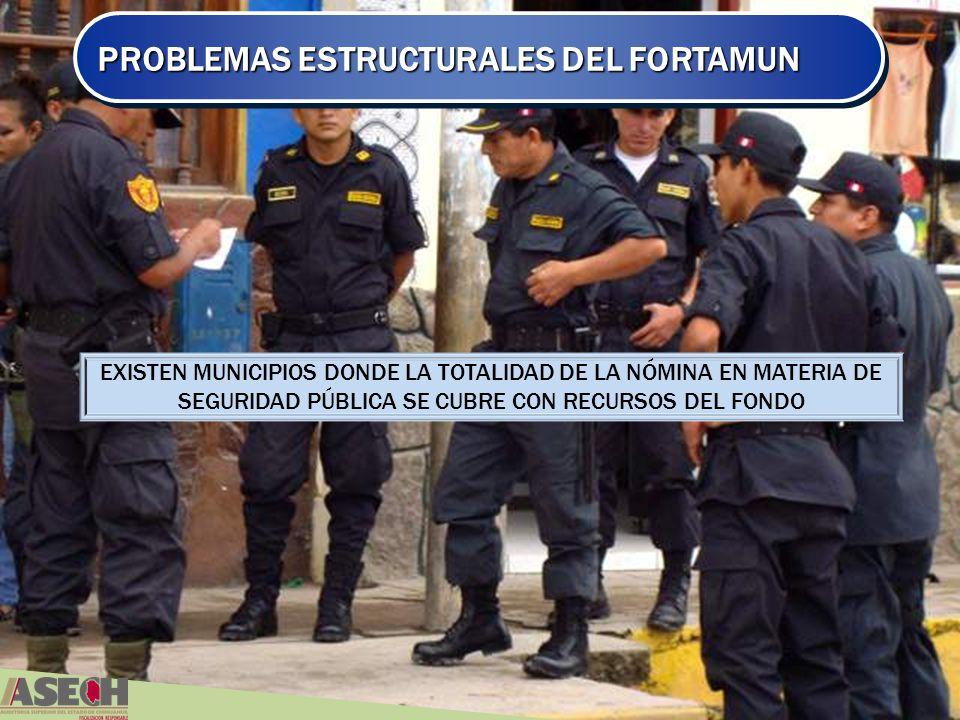 PROBLEMAS ESTRUCTURALES DEL FORTAMUN EXISTEN MUNICIPIOS DONDE LA TOTALIDAD DE LA NÓMINA EN MATERIA DE SEGURIDAD PÚBLICA SE CUBRE CON RECURSOS DEL FONDO