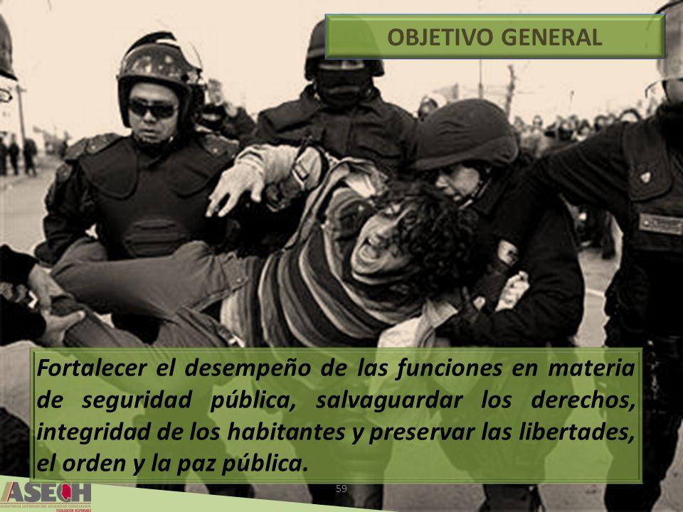 59 OBJETIVO GENERAL Fortalecer el desempeño de las funciones en materia de seguridad pública, salvaguardar los derechos, integridad de los habitantes y preservar las libertades, el orden y la paz pública.