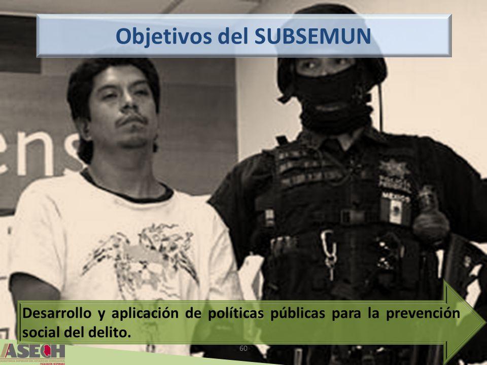 60 Objetivos del SUBSEMUN Desarrollo y aplicación de políticas públicas para la prevención social del delito.