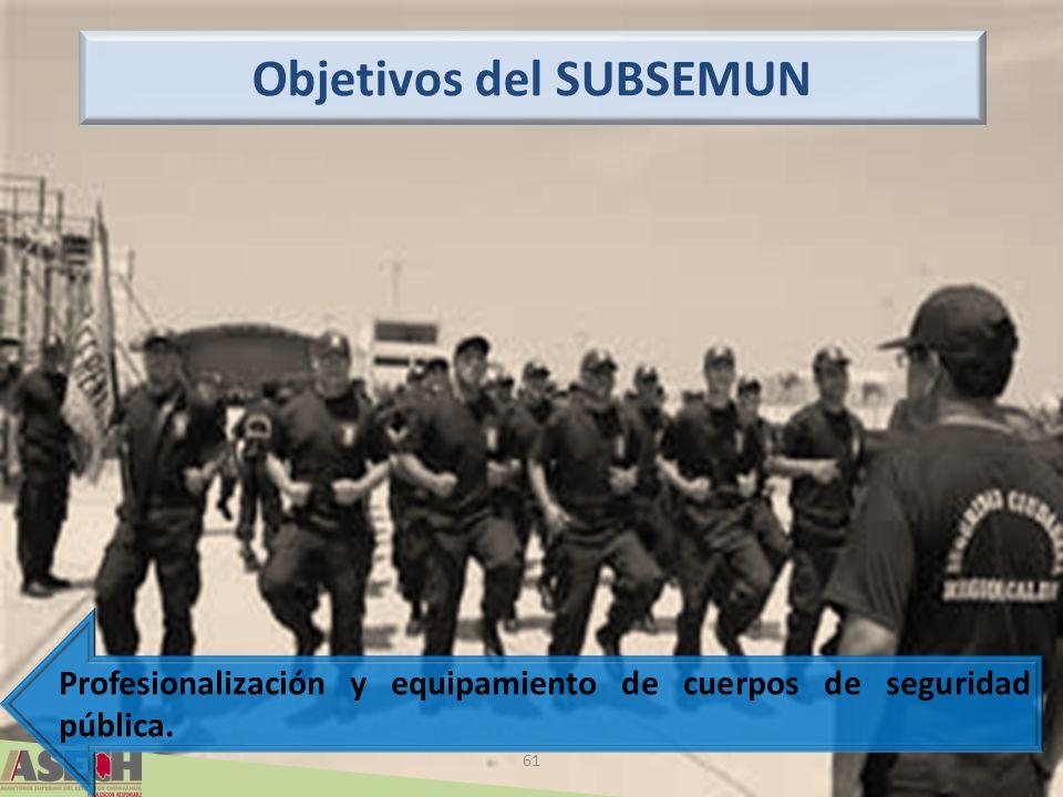 61 Profesionalización y equipamiento de cuerpos de seguridad pública. Objetivos del SUBSEMUN