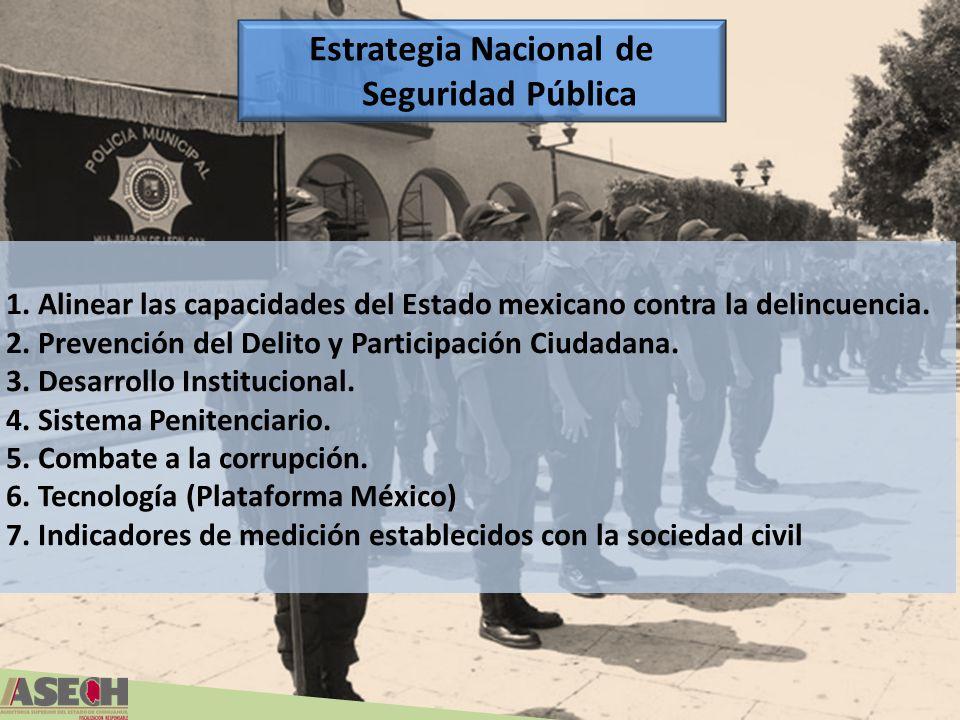 1. Alinear las capacidades del Estado mexicano contra la delincuencia. 2. Prevención del Delito y Participación Ciudadana. 3. Desarrollo Institucional