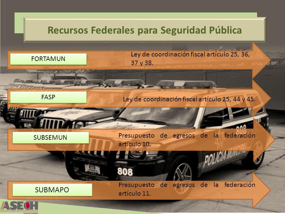 Recursos Federales para Seguridad Pública FORTAMUN FASP SUBSEMUN Ley de coordinación fiscal artículo 25, 36, 37 y 38. Ley de coordinación fiscal artíc