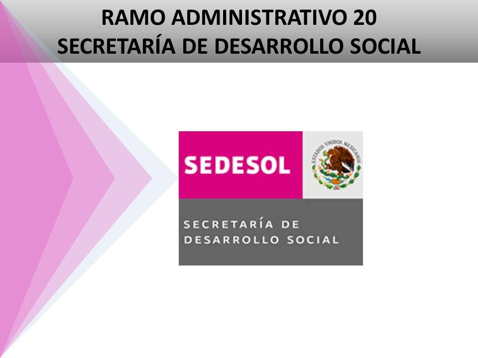RAMO ADMINISTRATIVO 20 SECRETARÍA DE DESARROLLO SOCIAL
