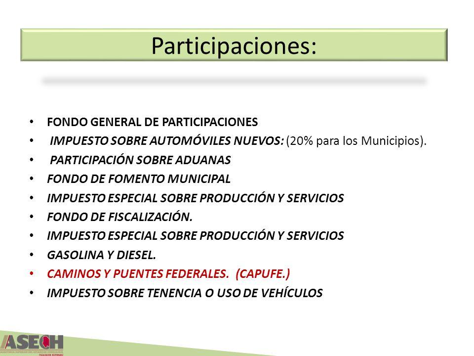 Participaciones: FONDO GENERAL DE PARTICIPACIONES IMPUESTO SOBRE AUTOMÓVILES NUEVOS: (20% para los Municipios). PARTICIPACIÓN SOBRE ADUANAS FONDO DE F