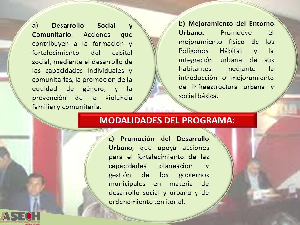 a) Desarrollo Social y Comunitario. Acciones que contribuyen a la formación y fortalecimiento del capital social, mediante el desarrollo de las capaci