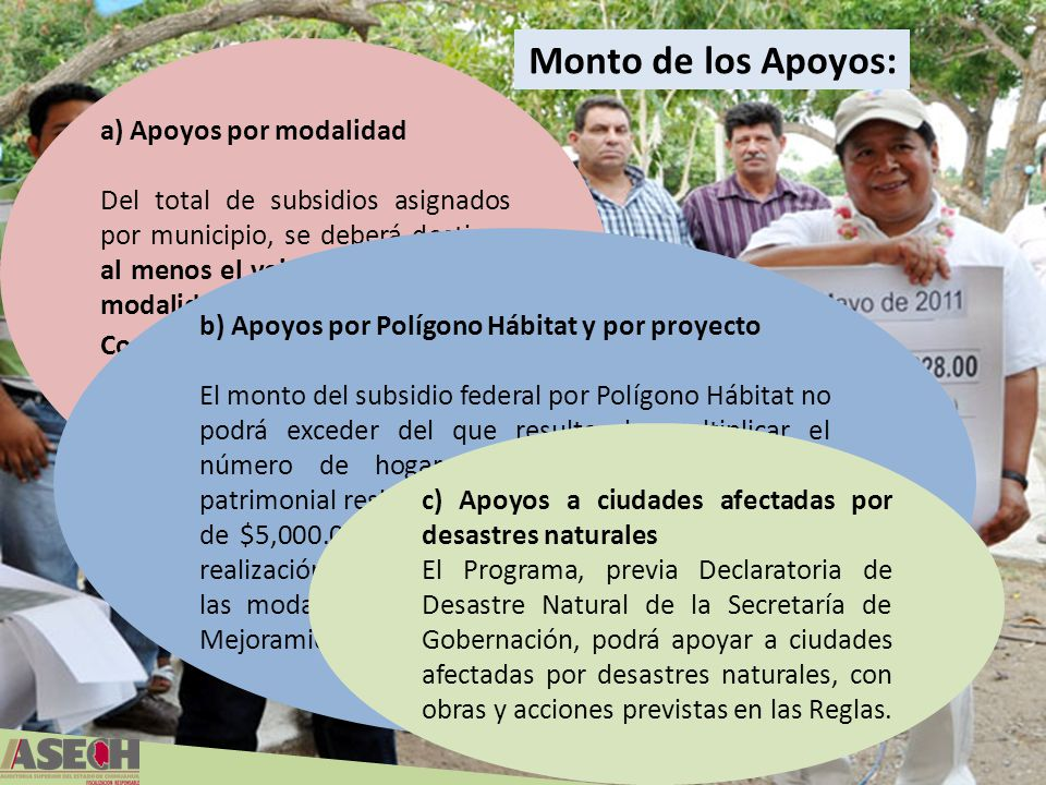 Monto de los Apoyos: a) Apoyos por modalidad Del total de subsidios asignados por municipio, se deberá destinar al menos el veinte por ciento a la mod