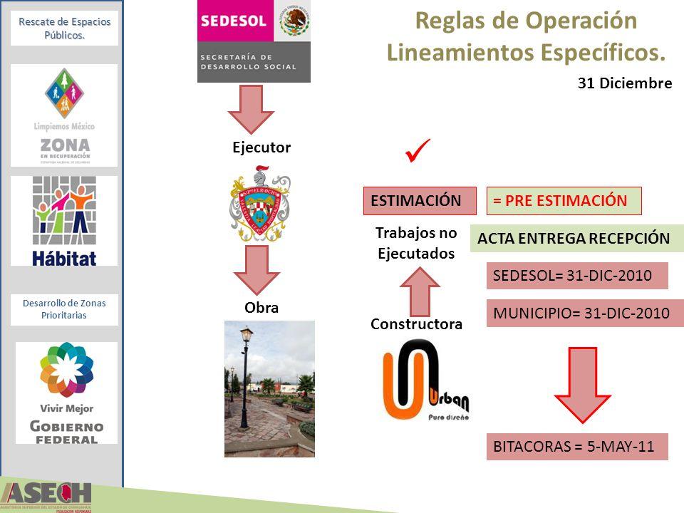 Desarrollo de Zonas Prioritarias Rescate de Espacios Públicos. Reglas de Operación Lineamientos Específicos. Constructora 31 Diciembre ESTIMACIÓN Ejec