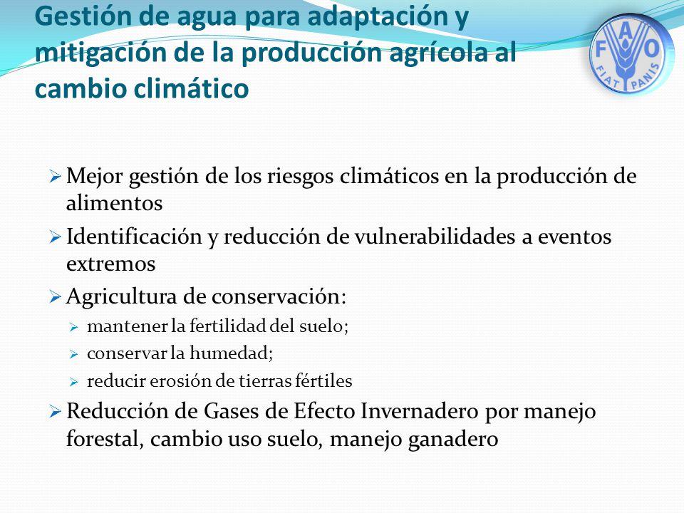 Gestión de agua para adaptación y mitigación de la producción agrícola al cambio climático Mejor gestión de los riesgos climáticos en la producción de